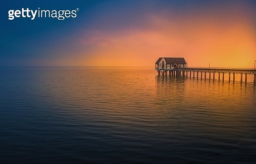 Scenic View of House on The Lake Against Sky During Sunrise, Thailand - gettyimageskorea