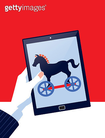 Cybercrime! A stylized vector cartoon of a Business man handling a Computer tablet with a Trojan Horse suggesting malware, hacking, technology, online security, or deceit. Computer, horse, and background are on different layers for easy editing. Please no - gettyimageskorea
