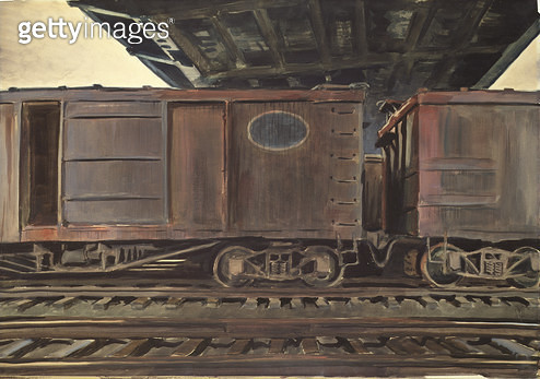 <b>Title</b> : Freight Cars Under a Bridge, 1933 (w/c on paper)<br><b>Medium</b> : watercolour on paper<br><b>Location</b> : The Detroit Institute of Arts, USA<br> - gettyimageskorea
