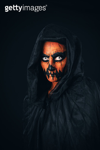 Creepy Jack O'Lantern Make Up Portrait - gettyimageskorea