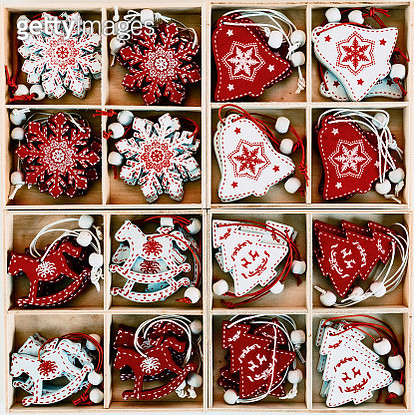 Set of vintage Christmas Scandinavian red and white decoration. Flat lay, top view - gettyimageskorea