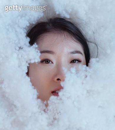 Japanese female hiding in fluffy foam - gettyimageskorea