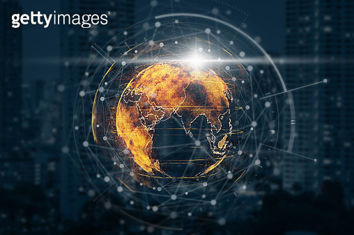 particle earth with technology network circle over the photo blurred of cityscape background, technology and innovation concept - gettyimageskorea