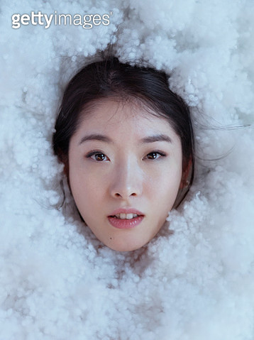 Japanese female face in artificial snow - gettyimageskorea