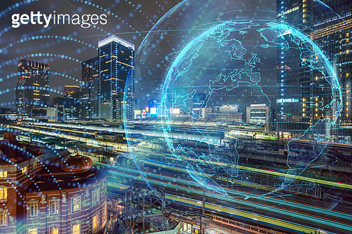 Global network abstract particles render of earth over the Train Trasportation Scene cityscape from terrace at twilight time, graphic and motion with architecture concept - gettyimageskorea