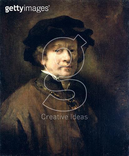 <b>Title</b> : Self Portrait with Cap and Gold Chain, 1654 (oil on canvas)Additional InfoSelbstbildnis mit Barett und goldener Kette;<br><b>Medium</b> : oil on canvas<br><b>Location</b> : Gemaeldegalerie Alte Meister, Kassel, Germany<br> - gettyimageskorea