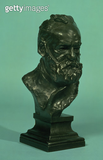 <b>Title</b> : Portrait head of Victor Hugo (1802-85) (bronze)<br><b>Medium</b> : <br><b>Location</b> : Private Collection<br> - gettyimageskorea