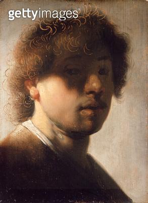 <b>Title</b> : Portrait of Rembrandt with Overshadowed Eyes (oil on panel)Additional InfoBildnis Rembrandts mit verschatteten Augen;<br><b>Medium</b> : oil on oak panel<br><b>Location</b> : Gemaeldegalerie Alte Meister, Kassel, Germany<br> - gettyimageskorea