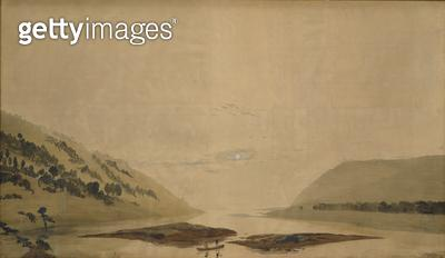 <b>Title</b> : Mountainous Landscape with River at Night, 1830/35 (w/c on tracing paper)Additional InfoGebirgige Flusslandschaft bei Nacht; cou<br><b>Medium</b> : watercolour on tracing paper<br><b>Location</b> : Neue Galerie, Kassel, Germany<br> - gettyimageskorea