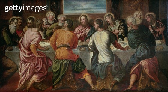 <b>Title</b> : The Last Supper, mid 1540s (oil on canvas)<br><b>Medium</b> : oil on canvas<br><b>Location</b> : Private Collection<br> - gettyimageskorea