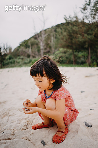 Cute toddler girl collecting seashells on beach - gettyimageskorea