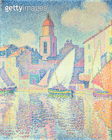 <b>Title</b> : The Clocktower at St. Tropez, 1896 (oil on canvas)<br><b>Medium</b> : oil on canvas<br><b>Location</b> : Private Collection<br> - gettyimageskorea