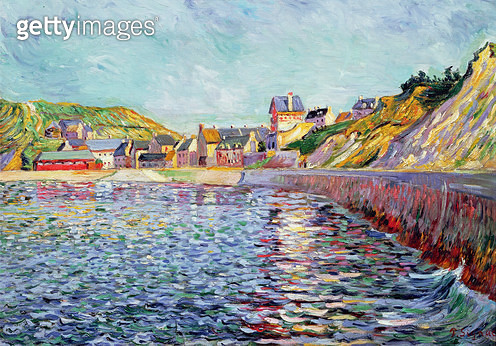 <b>Title</b> : Port-en-Bessin, Calvados, c.1884<br><b>Medium</b> : oil on canvas<br><b>Location</b> : Private Collection<br> - gettyimageskorea