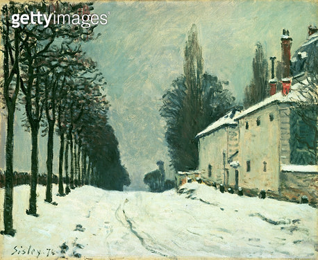 <b>Title</b> : La Route de Louveciennes, Hiver, 1874 (oil on canvas)Additional InfoThe Road to Louveciennes in Winter;<br><b>Medium</b> : oil on canvas<br><b>Location</b> : Private Collection<br> - gettyimageskorea