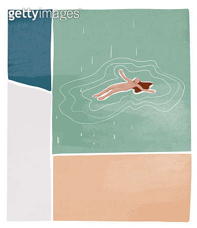 Woman floats on the water. Textured illustration. - gettyimageskorea