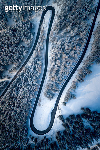 Aerial View Of Winding Road Amidst Trees - gettyimageskorea