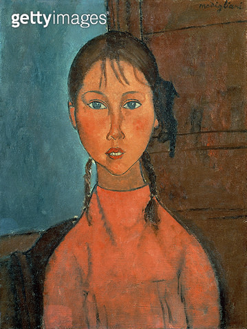 <b>Title</b> : Girl with Pigtails, c.1918 (oil on canvas)<br><b>Medium</b> : oil on canvas<br><b>Location</b> : Private Collection<br> - gettyimageskorea