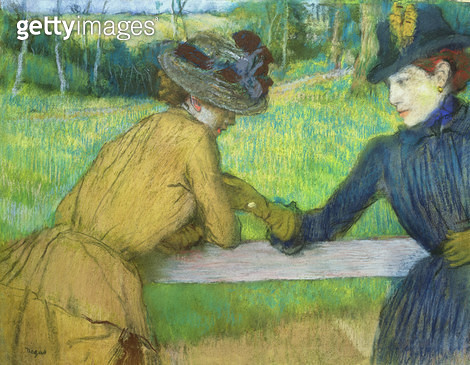 Two women leaning on a gate (pastel) - gettyimageskorea