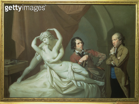 <b>Title</b> : Antonio Canova (1757-1822) in his Studio with Henry Tresham (1751-1814) and a Plaster Model for the 'Cupid and Psyche', c.1788-8<br><b>Medium</b> : pastel on paper<br><b>Location</b> : Victoria & Albert Museum, London, UK<br> - gettyimageskorea