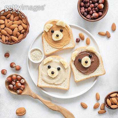 Nut Butter Toast In Shape Of Cute Funny Bear For Kids - gettyimageskorea
