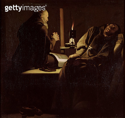 <b>Title</b> : The Ecstasy of St. Francis, A Monk at Prayer with a Dying Monk, 1640-45 (oil on canvas)<br><b>Medium</b> : oil on canvas<br><b>Location</b> : Musee de Tesse, Le Mans, France<br> - gettyimageskorea