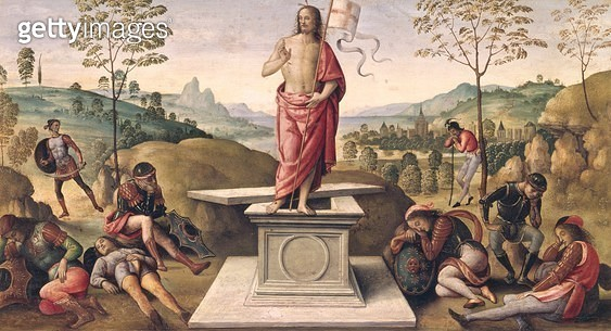 <b>Title</b> : The Resurrection of Christ, from the Convent of San Pietro, Perugia, 1496-98 (oil on panel)<br><b>Medium</b> : oil on panel<br><b>Location</b> : Musee des Beaux-Arts, Rouen, France<br> - gettyimageskorea