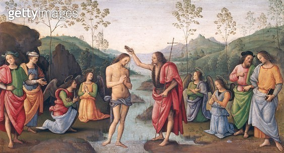 <b>Title</b> : The Baptism of Christ, from the Convent of San Pietro, Perugia, 1496-98 (oil on panel)<br><b>Medium</b> : oil on panel<br><b>Location</b> : Musee des Beaux-Arts, Rouen, France<br> - gettyimageskorea
