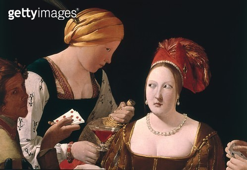 <b>Title</b> : The Cheat with the Ace of Diamonds, detail depicting the two women, c.1635-40 (oil on canvas) (detail of 90053)Additional InfoLe<br><b>Medium</b> : <br><b>Location</b> : Louvre, Paris, France<br> - gettyimageskorea