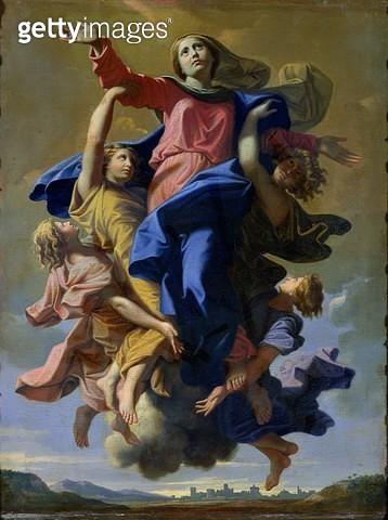 <b>Title</b> : The Assumption of the Virgin, 1649-50 (oil on canvas)<br><b>Medium</b> : oil on canvas<br><b>Location</b> : Louvre, Paris, France<br> - gettyimageskorea