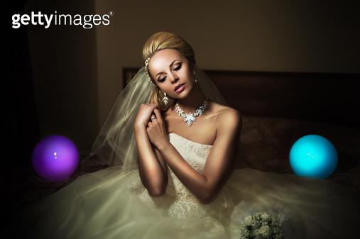 Bride among light balls - gettyimageskorea
