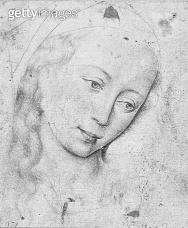 <b>Title</b> : Head of the Virgin (b/w print)<br><b>Medium</b> : <br><b>Location</b> : Louvre, Paris, France<br> - gettyimageskorea