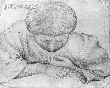 <b>Title</b> : Boy reading (pen & ink on paper) (b/w photo)<br><b>Medium</b> : pen and ink on paper<br><b>Location</b> : Louvre, Paris, France<br> - gettyimageskorea