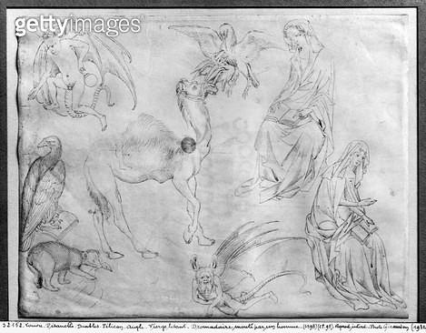 <b>Title</b> : Sheet of studies (pen & ink on paper) (b/w photo)<br><b>Medium</b> : pen and ink on paper<br><b>Location</b> : Louvre, Paris, France<br> - gettyimageskorea