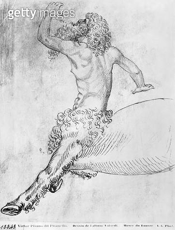 <b>Title</b> : Centaur (pen & ink on paper) (b/w photo)<br><b>Medium</b> : pen and ink on paper<br><b>Location</b> : Louvre, Paris, France<br> - gettyimageskorea