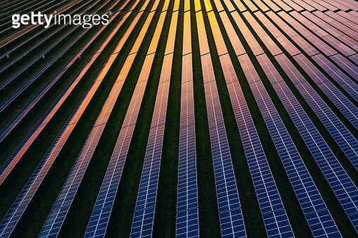 Solar panels at dusk - gettyimageskorea