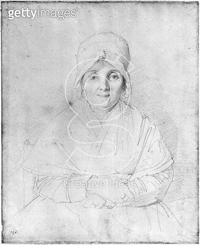 <b>Title</b> : Madame Ingres Mere (1758-1817) 1814 (graphite on paper) (b/w photo)<br><b>Medium</b> : graphite on paper<br><b>Location</b> : Musee Ingres, Montauban, France<br> - gettyimageskorea