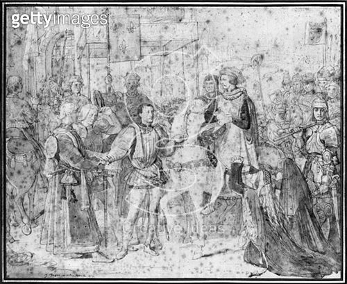 <b>Title</b> : Entry of the Dauphin, the future Charles V (1337-80) into Paris, 1814 (pencil on paper) (b/w photo)<br><b>Medium</b> : pencil on paper<br><b>Location</b> : Musee Bonnat, Bayonne, France<br> - gettyimageskorea