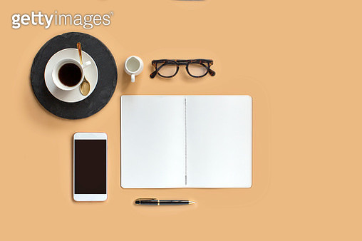 Stylised flat lay coffee table top still life. - gettyimageskorea