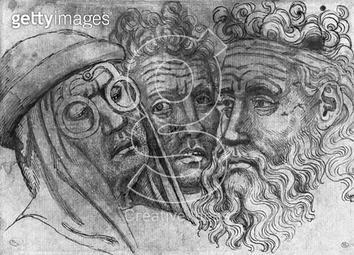 <b>Title</b> : Heads of three men (pen & ink on paper) (b/w photo)<br><b>Medium</b> : pen and ink on paper<br><b>Location</b> : Louvre, Paris, France<br> - gettyimageskorea