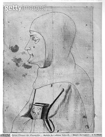 <b>Title</b> : Monk (pen & ink on paper) (b/w photo)<br><b>Medium</b> : <br><b>Location</b> : Louvre, Paris, France<br> - gettyimageskorea