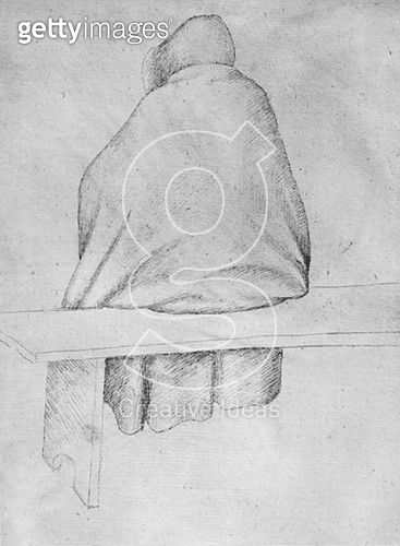 <b>Title</b> : Monk seated on a bench, seen from behind (pen & ink on paper) (b/w photo)<br><b>Medium</b> : pen and ink on paper<br><b>Location</b> : Louvre, Paris, France<br> - gettyimageskorea