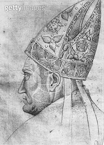 <b>Title</b> : Head of a bishop (pen & ink on paper) (b/w photo)<br><b>Medium</b> : pen and ink on paper<br><b>Location</b> : Louvre, Paris, France<br> - gettyimageskorea