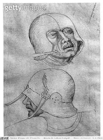 <b>Title</b> : Two heads of soldiers wearing  helmets (pen & ink on paper) (b/w photo)<br><b>Medium</b> : <br><b>Location</b> : Louvre, Paris, France<br> - gettyimageskorea