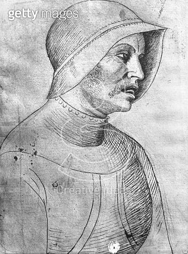 <b>Title</b> : Soldier wearing a helmet (pen & ink on paper) (b/w photo)<br><b>Medium</b> : pen and ink on paper<br><b>Location</b> : Louvre, Paris, France<br> - gettyimageskorea