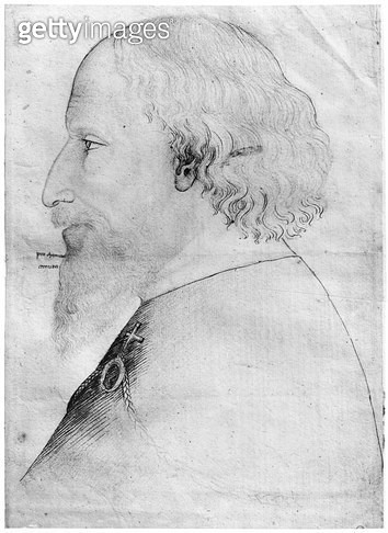 <b>Title</b> : Sigismund (1368-1437) Holy Roman Emperor (1433-37) (pen, ink, pencil & red chalk on paper) (b/w photo)<br><b>Medium</b> : pen, ink, pencil and red chalk on paper<br><b>Location</b> : Louvre, Paris, France<br> - gettyimageskorea