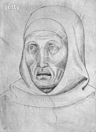 <b>Title</b> : Head of a monk (pen & ink on paper) (b/w photo)<br><b>Medium</b> : pen and ink on paper<br><b>Location</b> : Louvre, Paris, France<br> - gettyimageskorea
