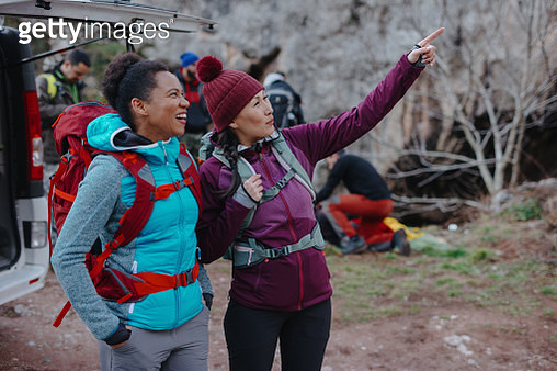 Two women talking and getting ready for new adventure - gettyimageskorea
