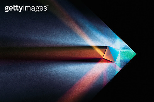 Prism Multi-colored Refraction on the Edge of White Paper, Directly Above View. - gettyimageskorea