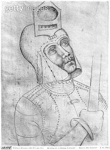 <b>Title</b> : Soldier wearing a visored helmet (pen & ink on paper) (b/w photo)<br><b>Medium</b> : <br><b>Location</b> : Louvre, Paris, France<br> - gettyimageskorea