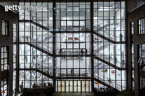 Inside the Office Building at Night - gettyimageskorea